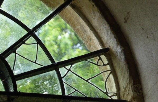 The completed repairs to the window at St Kenelm's, Sapperton