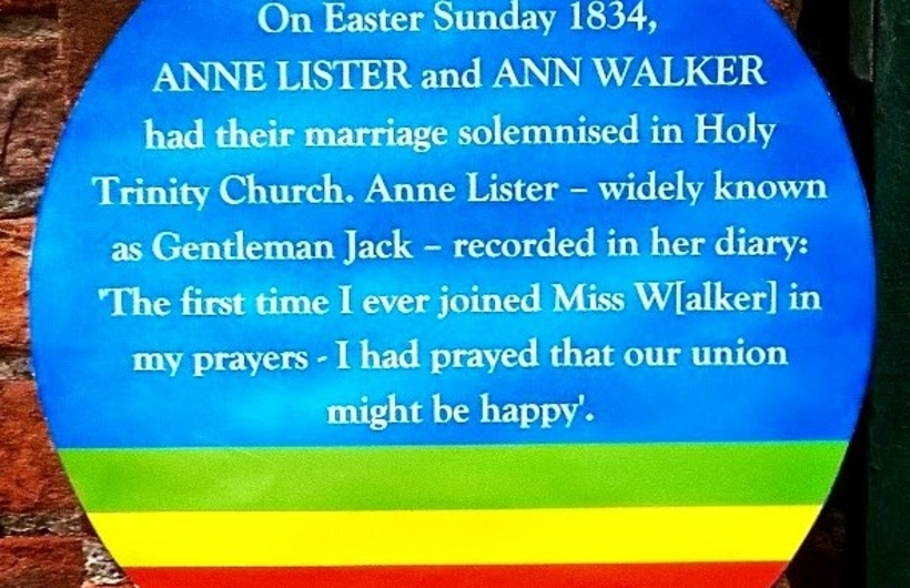 Rainbow plaque at York Holy Trinity 2016