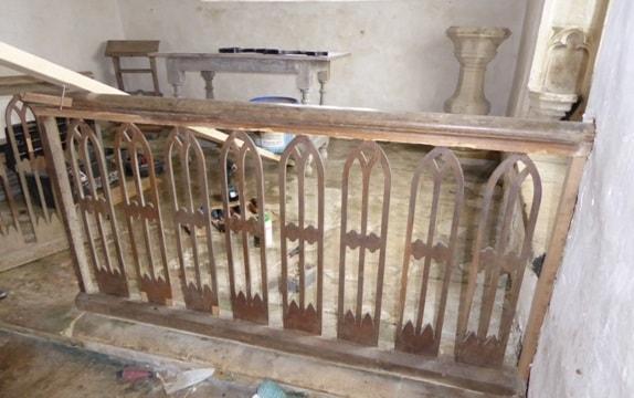 The communion rail at All Saints' church, Leigh, after repairs