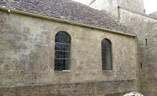 The chancel north wall at St Kenelm's, Sapperton