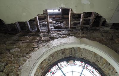 Dry rot at St John's church Lancaster