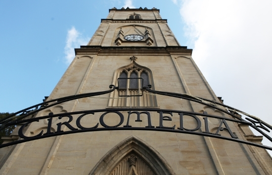 Exterior shot of the entrance of St Paul's Church in Bristol, home of Circomedia circus agency